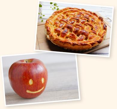 アップルパイ 顔形にむいたりんご